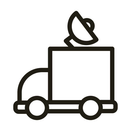 vehicle with satellite antenna, line style icon vector illustration design