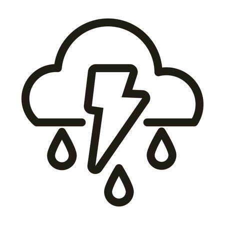 cloud with thunder and rain, line style icon vector illustration design
