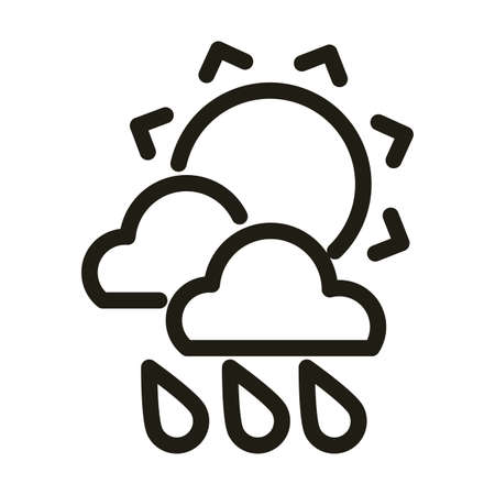 sun with clouds and rain, line style icon vector illustration design