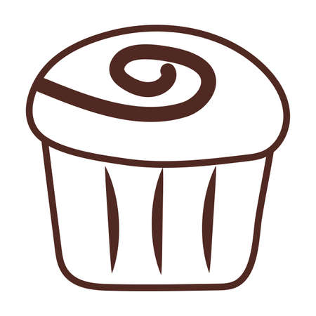 delicious cupcake, line style icon vector illustration design 向量圖像