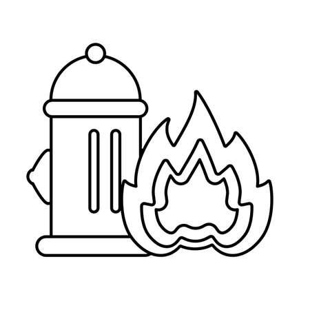 fire hydrant with fire flame on white background vector illustration design Ilustração