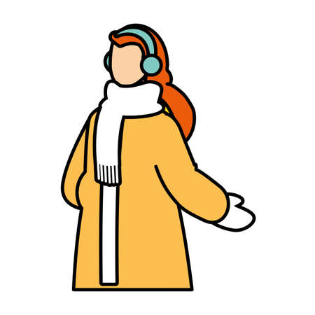 woman with winter clothes on white background vector illustration design