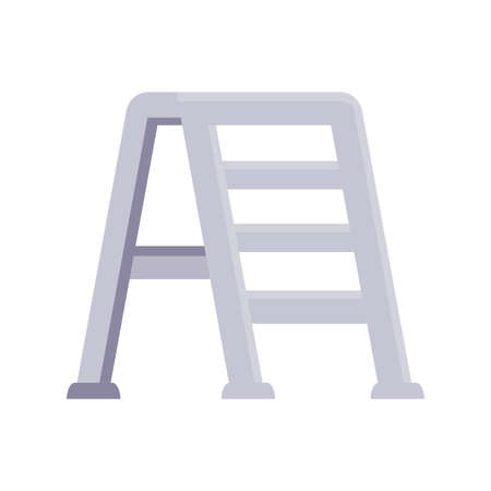 ladder icon over white background, flat detail style, vector illustration