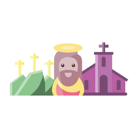 church with jesus in white background vector illustration design Ilustração
