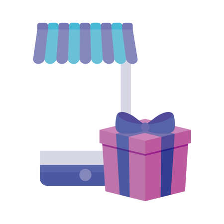 smartphone with parasol and gift box vector illustration design