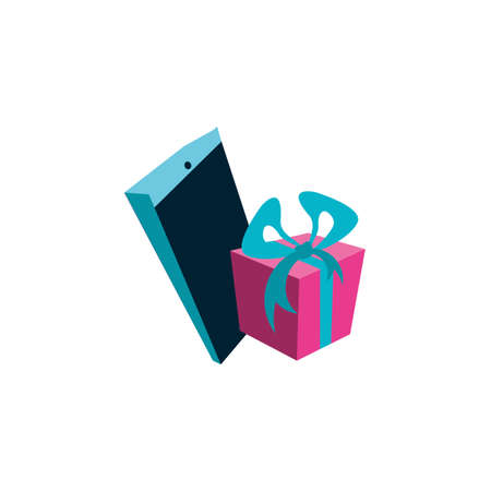 smartphone device with gift box vector illustration design