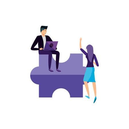 young couple using laptop computer vector illustration design Ilustração