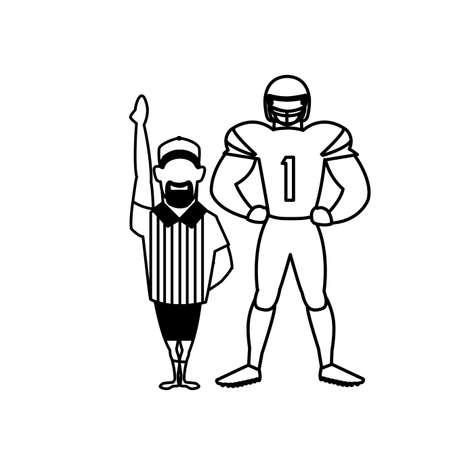 referee and player american football on white background vector illustration design Ilustração