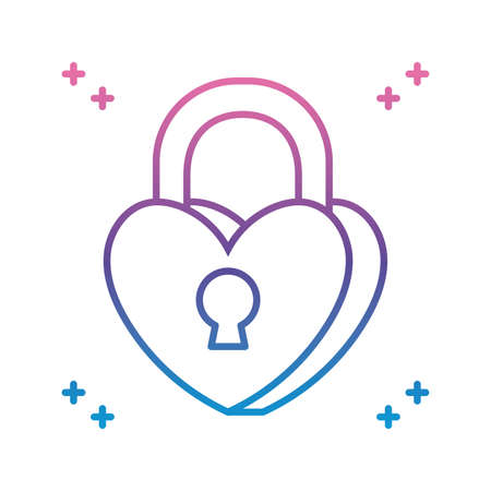 heart padlock icon over white background, gradient line style, vector illustration