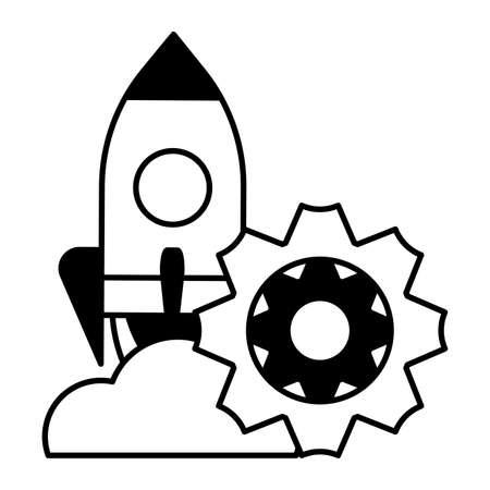 flying rocket on white background vector illustration design 向量圖像