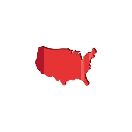 Usa red map design, United states america independence day nation us country and national theme Vector illustration