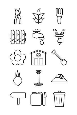 set of icon gardening , line style icon vector illustration design