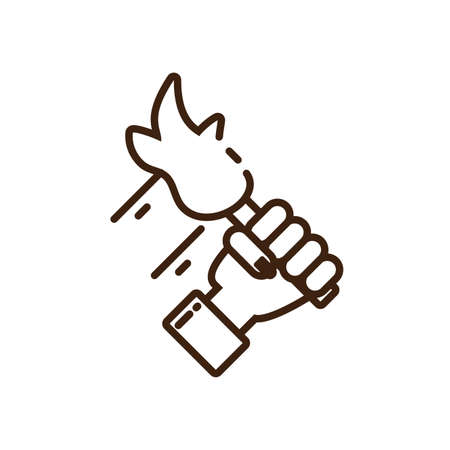 female hand holding a torch icon over white background, line style, vector illustration design