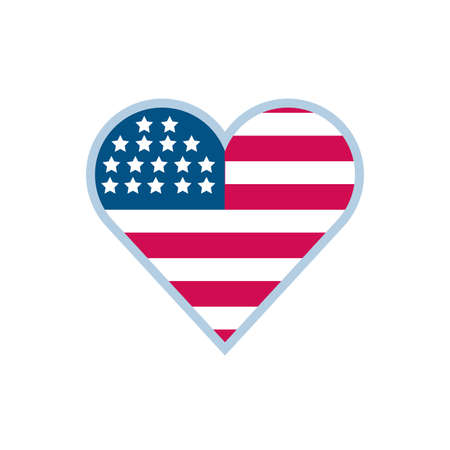 Usa flag heart design, United states america independence labor day nation us country and national theme Vector illustration 向量圖像