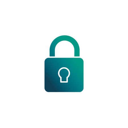 security padlock, gradient style icon vector illustration design