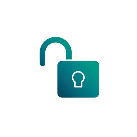 security padlock open, gradient style icon vector illustration design  イラスト・ベクター素材