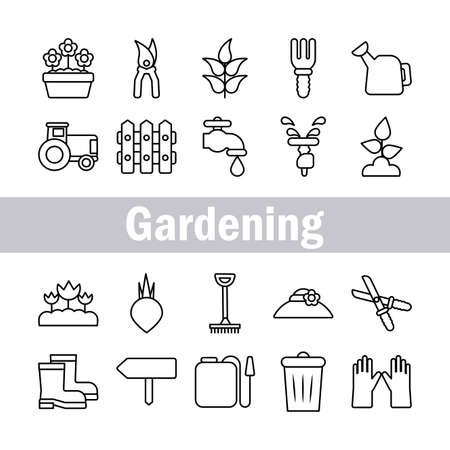 set of icon gardening , line style icon vector illustration design