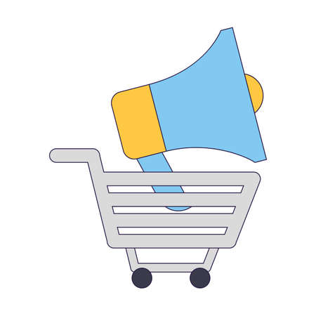 shopping cart and megaphone icon over white background, vector illustration