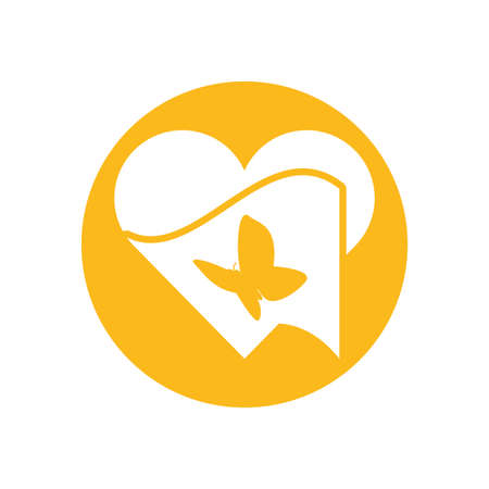 Butterfly inside heart design of Zero discrimination day awareness help support campaign love life care and solidarity theme Vector illustration