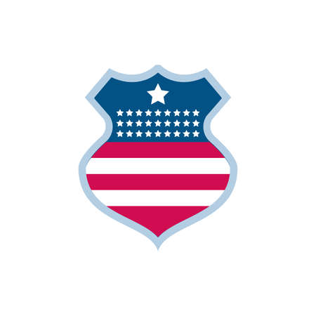 Usa flag shield design, United states america independence labor day nation us country and national theme Vector illustration 向量圖像