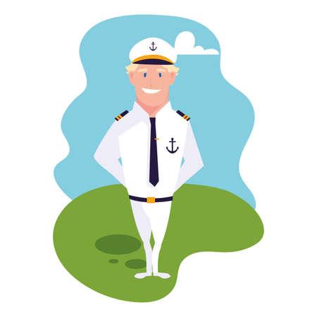 man sailor standing with background landscape vector illustration design