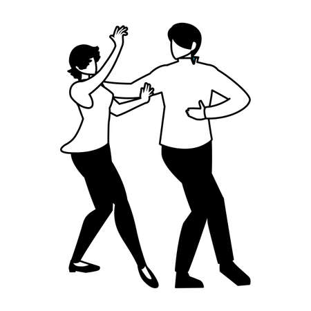 silhouette of couple in pose of dancing on white background vector illustration design  イラスト・ベクター素材