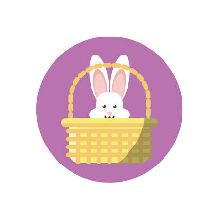 basket with cute rabbit head over white background, block style icon, vector illustration