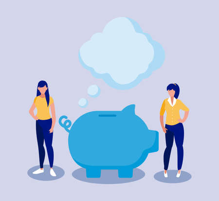 Businesswomen with piggy design, business management corporate job occupation strategy worker and professional theme Vector illustration 写真素材 - 143287800