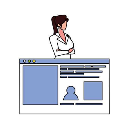 businesswoman in the work office making presentation vector illustration design 写真素材 - 143291925