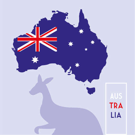 australia map with flag, label austratia vector illustration design 向量圖像