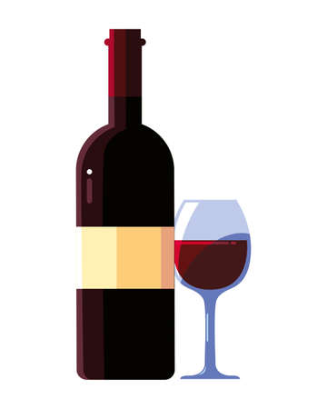 bottle and glass of wine on white background vector illustration design 向量圖像