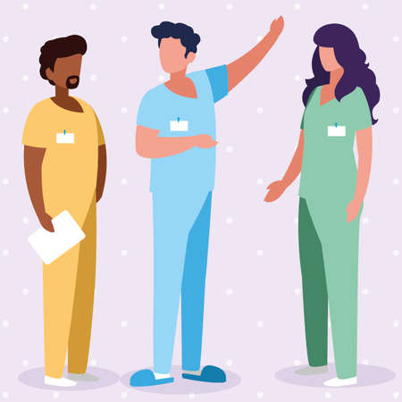 interracial group medicine workers with uniform characters vector illustration design  イラスト・ベクター素材