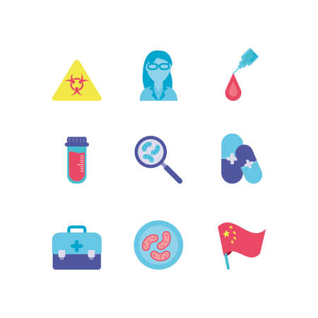 virus alert and medical icons set over white background, colorful design, vector illustration