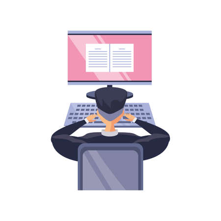 man in front a the desktop computer, online education vector illustration design Vectores