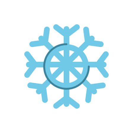 snowflake, over white background, flat style icon, vector illustration