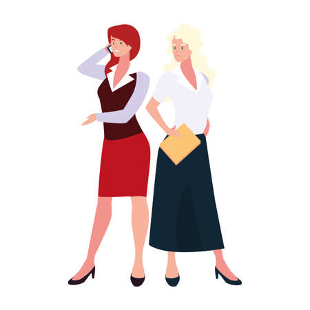 cute businesswomen with various views, poses and gestures vector illustration design 写真素材 - 143298185