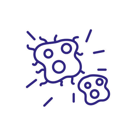 bacteria icon over white background, line detail style, vector illustration 矢量图像
