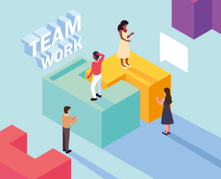 group of people with puzzle piece , teamwork vector illustration design 写真素材 - 143298521