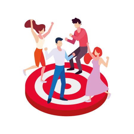 group of people celebrating and target shooting vector illustration design Ilustração