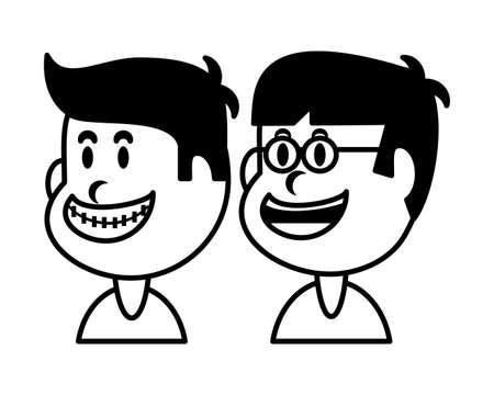 boys smiling on white background vector illustration design 矢量图像