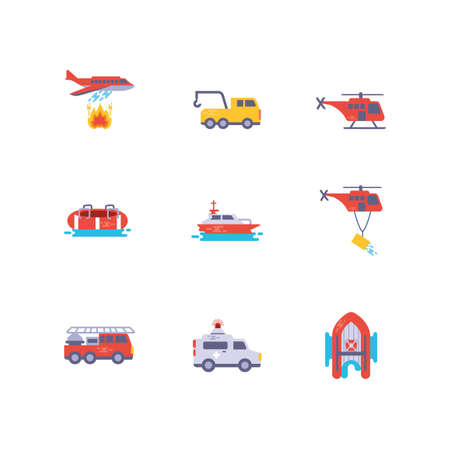 Icon set design, Emergency rescue save department 911 danger help safety and aid theme Vector illustration Ilustração