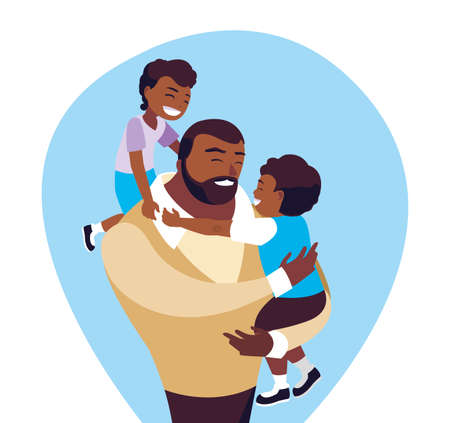 afro father with sons characters vector illustration design 矢量图像