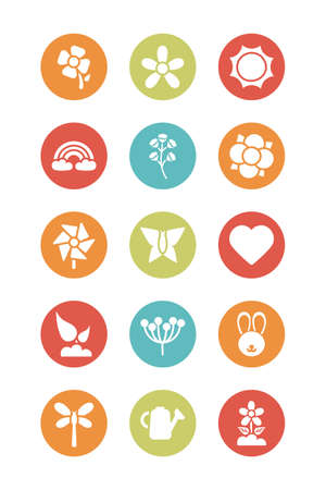 set of spring icons , block and flat style icon vector illustration design