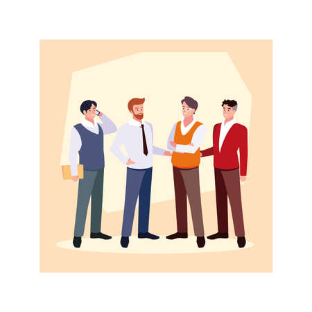 set of businessmen with various views, poses and gestures vector illustration design