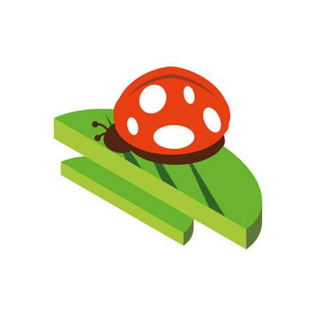 Cute ladybug over leaf design, Animal zoo life nature character childhood and adorable theme Vector illustration