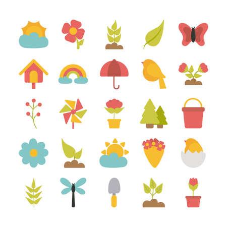 set of spring icons on white background vector illustration design Foto de archivo - 143299145