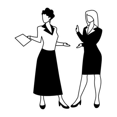 cute businesswomen with various views, poses and gestures vector illustration design 写真素材 - 143299146