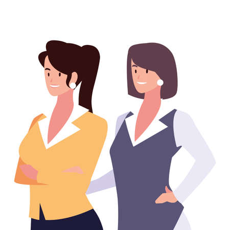 cute businesswomen with various views, poses and gestures vector illustration design  イラスト・ベクター素材