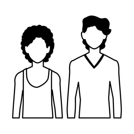 men faceless with different poses on white background vector illustration design  イラスト・ベクター素材