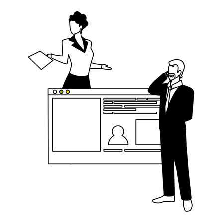 couple of people business in the work office making presentation vector illustration design 写真素材 - 143297918